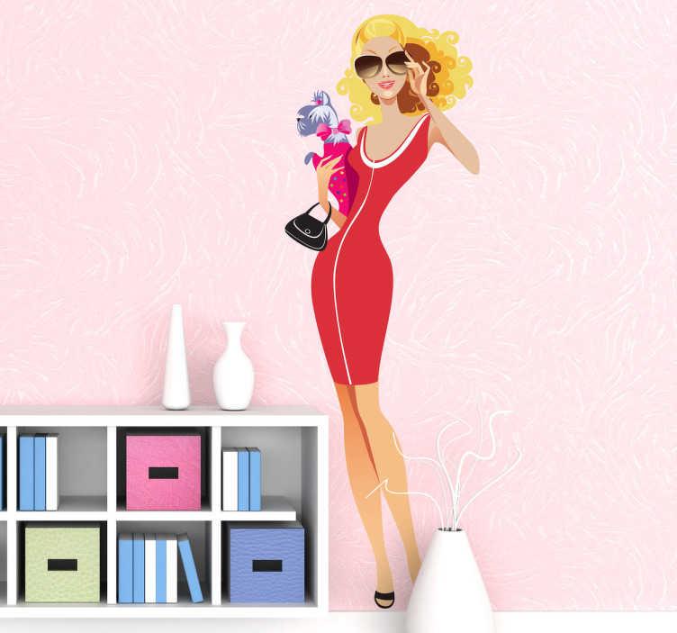 TenStickers. Sticker shopping look femme. Une jeune femme à la pointe de la mode en robe rouge moulante et lunettes de soleil.