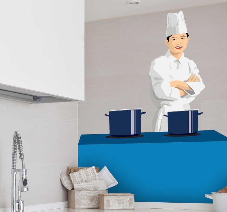 TenStickers. Sticker decorativo cuoco con pentole. Adesivo decorativo che raffigura uno chef in cucina. Una decorazione originale per gli interni di un ristorante.
