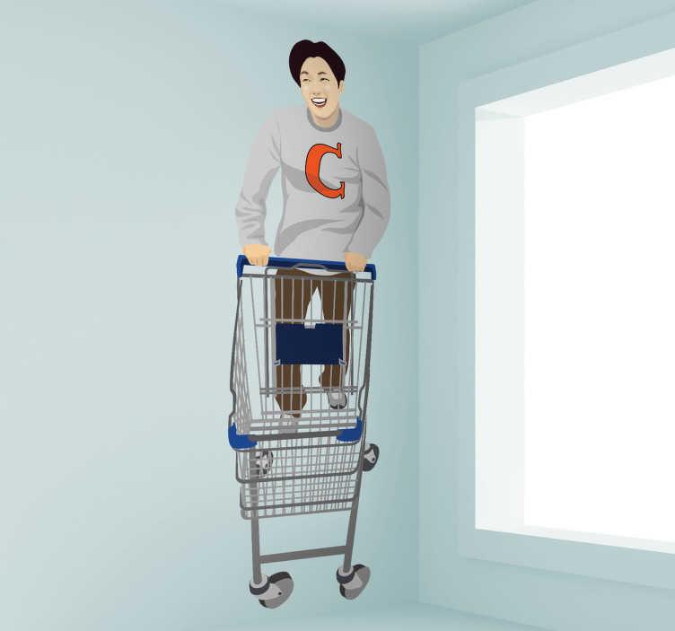 TenStickers. 小车墙贴的家伙. 一个年轻人用他的手推车购物的装饰贴花。这个购物贴纸非常适合装饰您的房屋和商店!