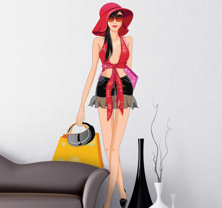 TenVinilo. Vinilo decorativo fashion girl summer. Adhesivo de una sexy chica veraniega paseando con su pamela en busca de algun complemento de ropa en una tienda de playa.
