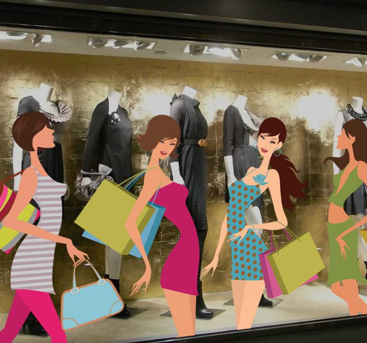 TenVinilo. Vinilo decorativo kit chicas shopping. Cuatro adhesivos de sexys jóvenes de compras. Ideal para tiendas y negocios. Las medidas indicadas son sobre el conjunto de personajes.