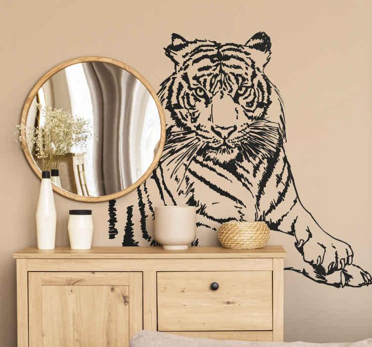 TenStickers. Naklejka na ścianę tygrys. Wyjątkowa naklejka na ścianę prezentująca sylwetkę tygrysa. Za pomocą naszej naklejki dekoracyjnej stworzysz oryginalny styl w Swoim pokoju.