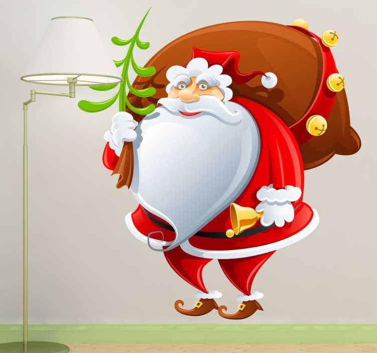 TenVinilo. Vinilo decorativo Papa Noel cómic. Divertido adhesivo de Santa Claus cargando un pequeño aveto, una campana y un enorme saco de regalos.