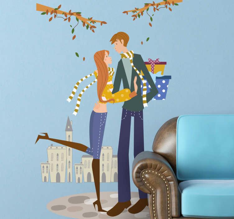 TenStickers. Naklejka jesienny prezent. Naklejka przedstawiająca parę na tle jesiennej scenerii. Meżczyzna zamierza obdarować swoją kobietę prezentami. Piękna dekoracja do wnętrza domowego.
