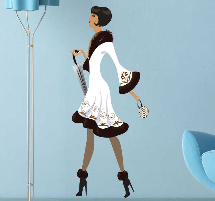 TenStickers. Sticker decorativo lady moda inverno. Adesivo decorativo con la silhouette di una donna elegante, ideale per le pareti o le vetrine di una boutique di moda.