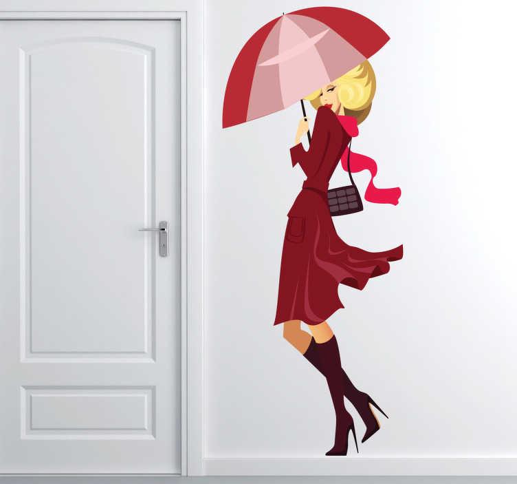 TenVinilo. Vinilo infantil modelo bajo lluvia. Adhesivo de una joven rubia protegiéndose de las inclemencias del tiempo.