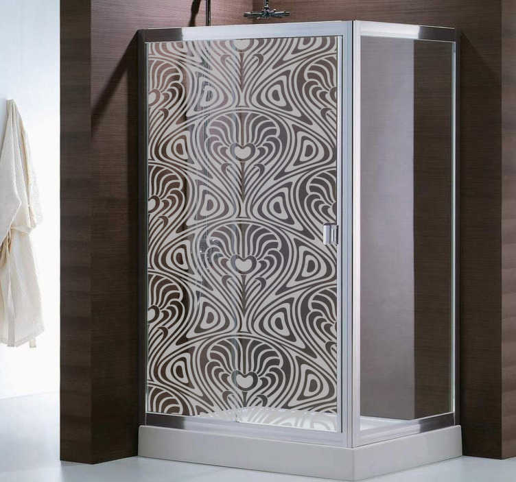 TenStickers. Moderne Kunst Duschwand Aufkleber. Mit diesem besonderen transluzenten Aufkleber Design können Sie Ihre Privatsphäre schützen - ideal für die Glaswand Ihrer Dusche.