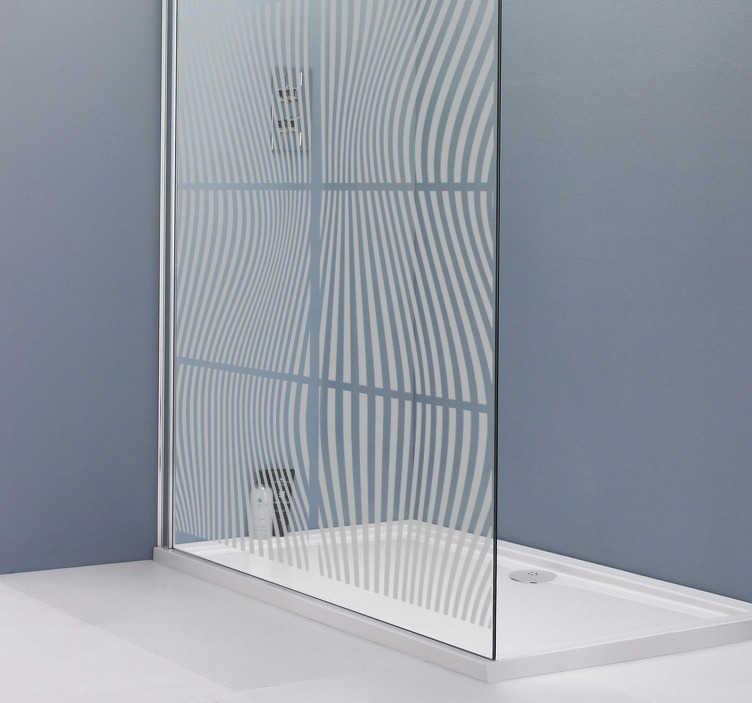 TenStickers. Naklejka dekoracyjna kwadraty w paski. Naklejka dekoracyjna w kwadraty wypełnione paskami idealnie nada się na drzwi prysznicowe.
