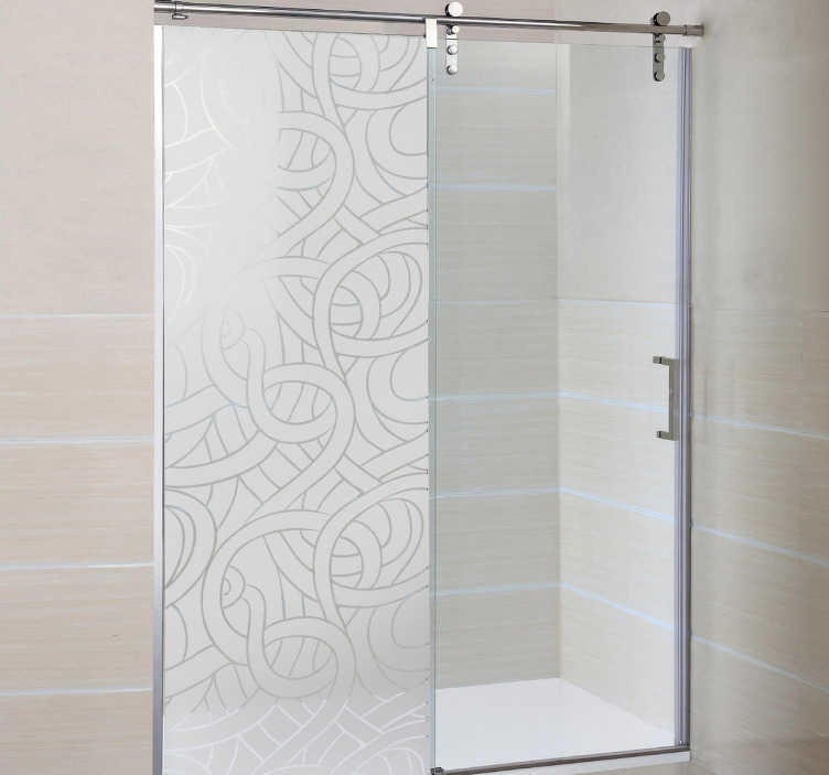 TenStickers. Entwined Rope Shower Sticker. Bathroom Stickers - Original frosted design to decorate your shower. Interesting and unique translucent shower door sticker of many lines interlocking to form an amazing pattern that provides privacy while still letting light in.
