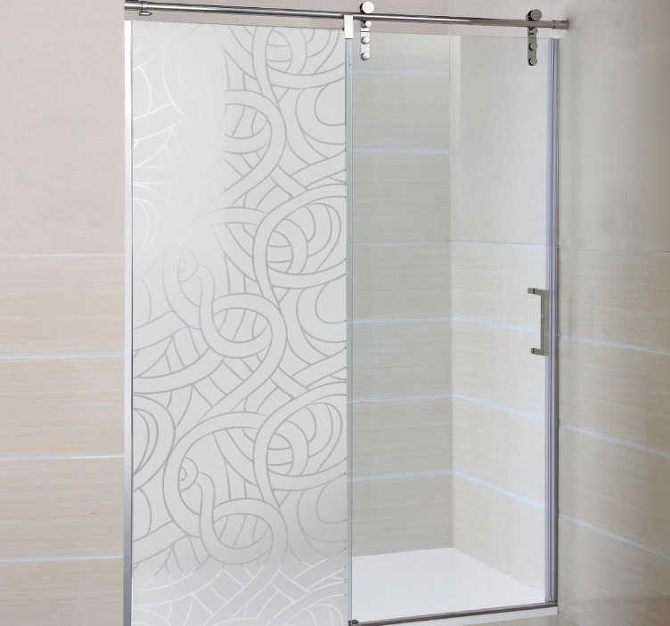 TENSTICKERS. ロープシャワーステッカー. 浴室のステッカー - あなたのシャワーを飾るオリジナルの霜付けのデザイン。面白いとユニークな半透明のシャワーのドアのステッカーは、多くのラインのインターロックは、まだ光を入れてプライバシーを提供する素晴らしいパターンを形成する連動。