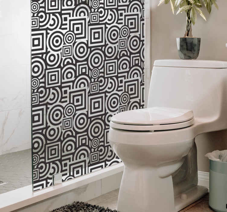 TenStickers. Eşmerkezli şekiller duş çıkartması. Banyo çıkartmaları - bu geometrik tasarımla duşunuza modern bir dokunuş katın. Uygun fiyatlarla büyük çıkartma tasarımları.
