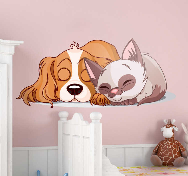 TenStickers. Kids Stickers Sleeping Cat & Dog. Kids Wall Stickers - illustration of a cute puppy and adorable kitten asleep. Ideal for decorating the nursery, bedroom and play areas for children.