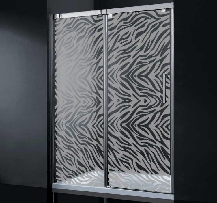 TenStickers. Zebra Duschwand Aufkleber. Mit diesem Zebramuster Aufkleber können Sie Ihre Duschwand dekorieren und ihr einen afrikanischen Look verpassen.