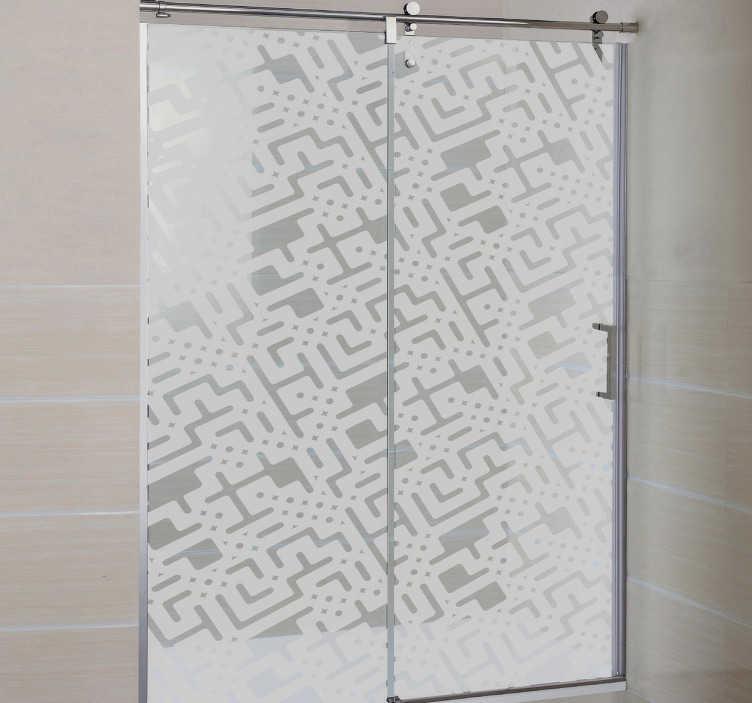 TenStickers. Naklejka na kabinę prysznicową komputerowy wzór. Odmień swoją łazienkę za pomocą naklejek na kabinę prysznicową.
