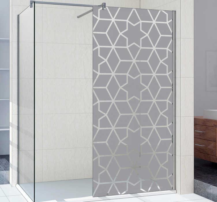 TenStickers. Stern Duschwand Aufkleber. Mit diesem transluzenten Stern Aufkleber Design können Sie Ihre Duschwand dekorieren und gleichzeitig Ihre Privatsphäre schützen.