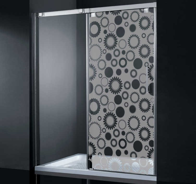 TenStickers. 기하학적 꽃 모양의 샤워 데칼. 당신의 샤워 유리를 장식하는 꽃 모양 디자인을 가진 샤워 스크린 스티커. 기하학적 샤워 데칼은 또한 필요한 개인 정보를 제공합니다!