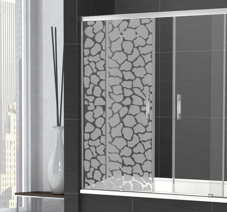 TenStickers. Sticker paroi douche girafe. Un motif de girafe original sur sticker pour décorer la paroi de votre douche dans la salle de bain et préserver ainsi votre intimité.