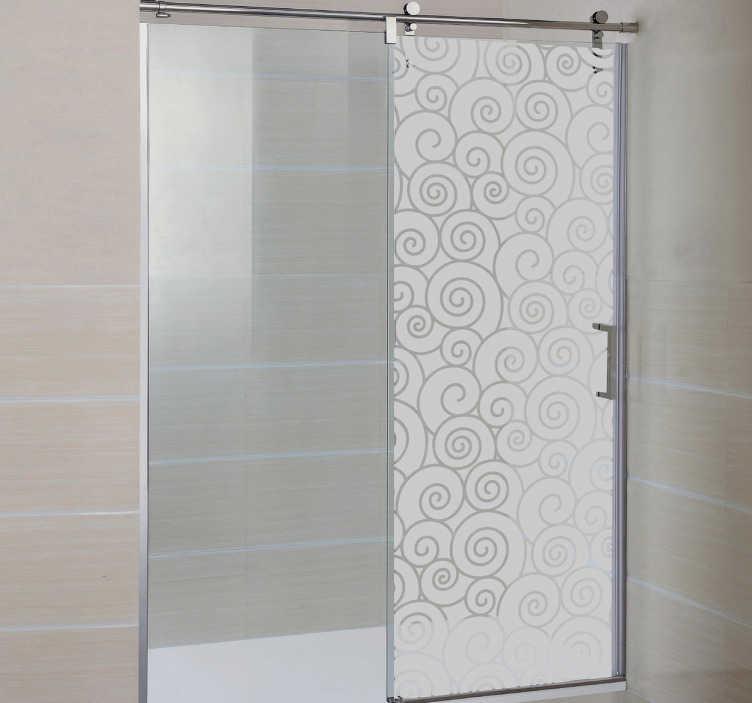 TenStickers. 波浪淋浴贴纸. 浴室贴纸 - 磨砂波浪淋浴贴纸设计,使您的家居装饰现代化,同时为您提供一些淋浴隐私。这个半透明的墙贴非常适合让一点点光线进入淋浴房,而不是太多。