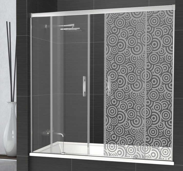 TenStickers. Kreise Duschwand Aufkleber. Mit diesem eleganten transluzenten Aufkleber mit Kreisen können Sie Ihre Privatsphäre in der Dusche schützen und gleichzeitig die Duschwand dekorieren