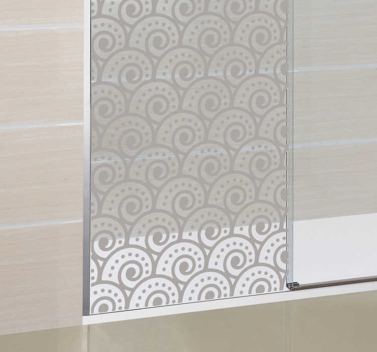 TenStickers. Tsunami Wave Shower Sticker. Japanese wave design for decorating the shower doors, perfect bathroom sticker for adding a touch of style to your decor. Excellent translucent shower sticker to bring a cool touch to the shower doors while still letting in some light.