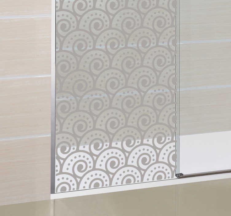 TenVinilo. Vinilo decorativo mampara tsunami. Espectacular diseño para puerta de baño con un dibujo grabado de olas estilo japonés.
