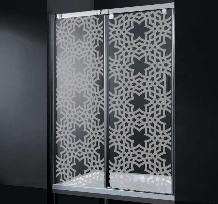 TenStickers. Sticker decorativo texture saracena. Assicura l'intimità del tuo box doccia decorandolo con questo elegante adesivo di ispirazione orientale.
