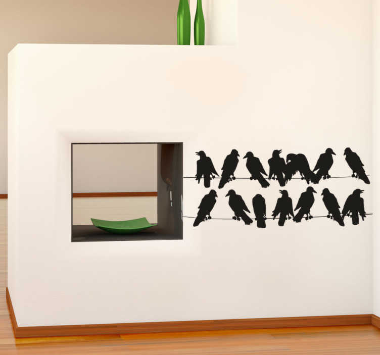 TenStickers. Telephone Line Birds Wall Sticker. Wall Stickers - Silhouette design of birds on a telephone line. Ideal for decorating the home.