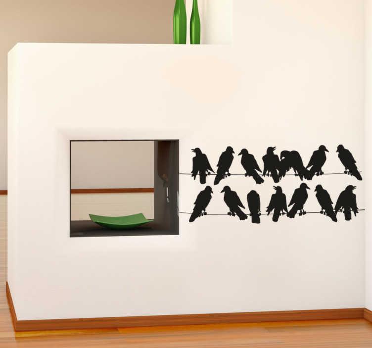 TenStickers. Sticker vogels op electriciteitskabels. Een muursticker met de silhouetten van een tiental vogels die rusten op elektriciteitskabels. Prachtige wanddecoratie voor het decoreren van je huis.