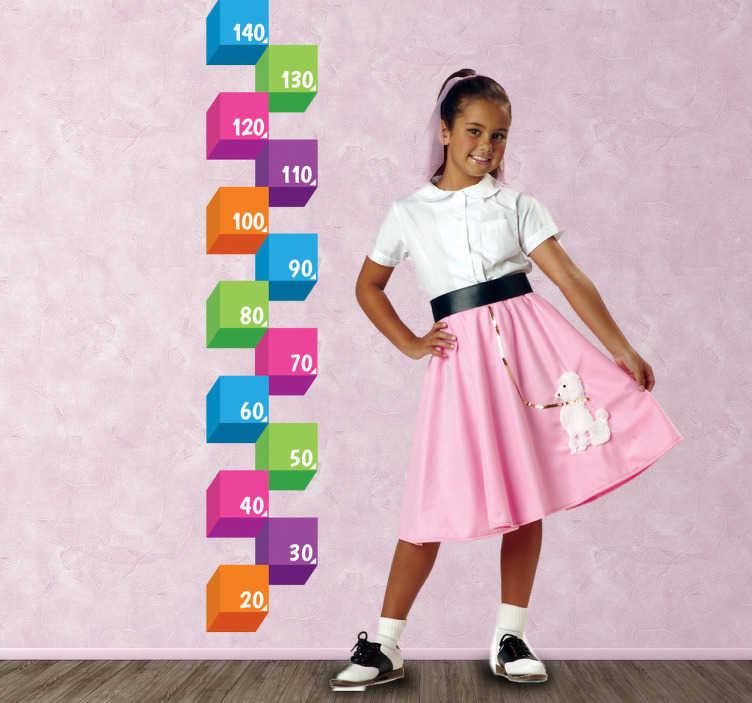 TenStickers. 3d küp yükseklik grafik etiket. çocuklar duvar çıkartmaları - orijinal renkli tasarım çocukların büyümesini ölçmek için ideal.