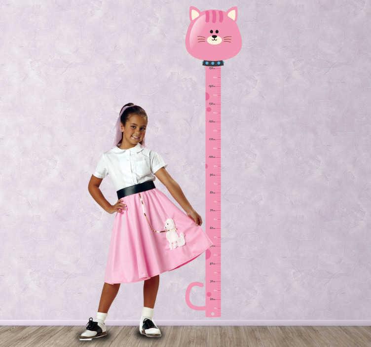 TenStickers. Vinil Decorativo Gato Medidor. Vinil medidor caracterizado com gato rosa, uma forma original de colocar no quarto da sua filha para poder obversar ao centimetro o crescimento dela.