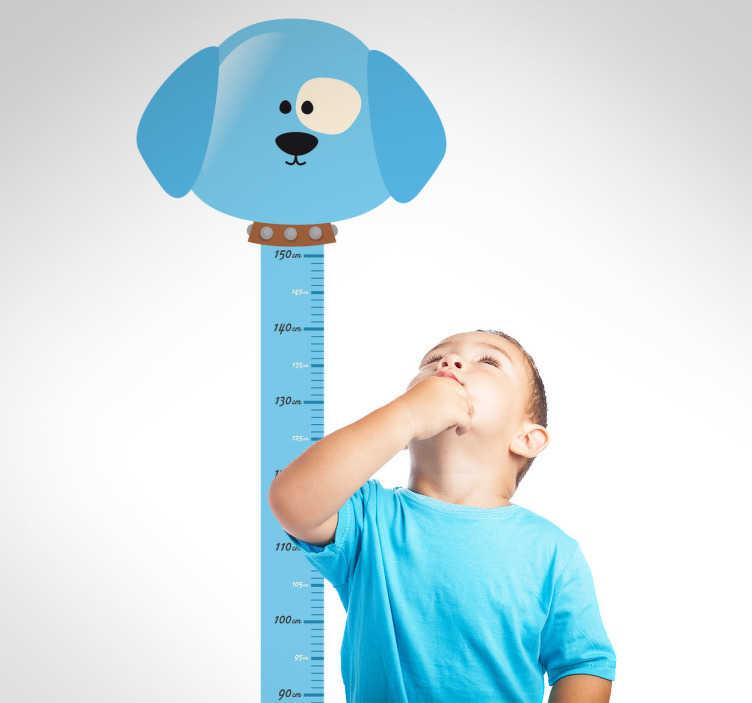 TenStickers. Muursticker kind groeimeter hond. Deze muursticker is een vrolijk ontwerp van een groeitmeter afgebeeld als een hondje. Een leuke manier om uw woning te decoreren.