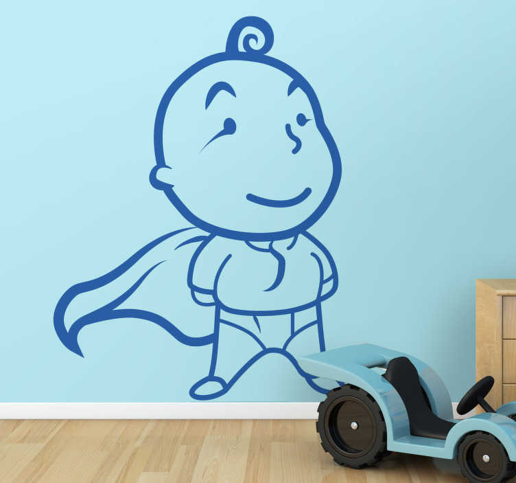 TenStickers. Superbaby Wall Sticker. A children's wall sticker illustrating Superbaby created by Tenstickers! Great monochrome decal to decorate your child's play area.