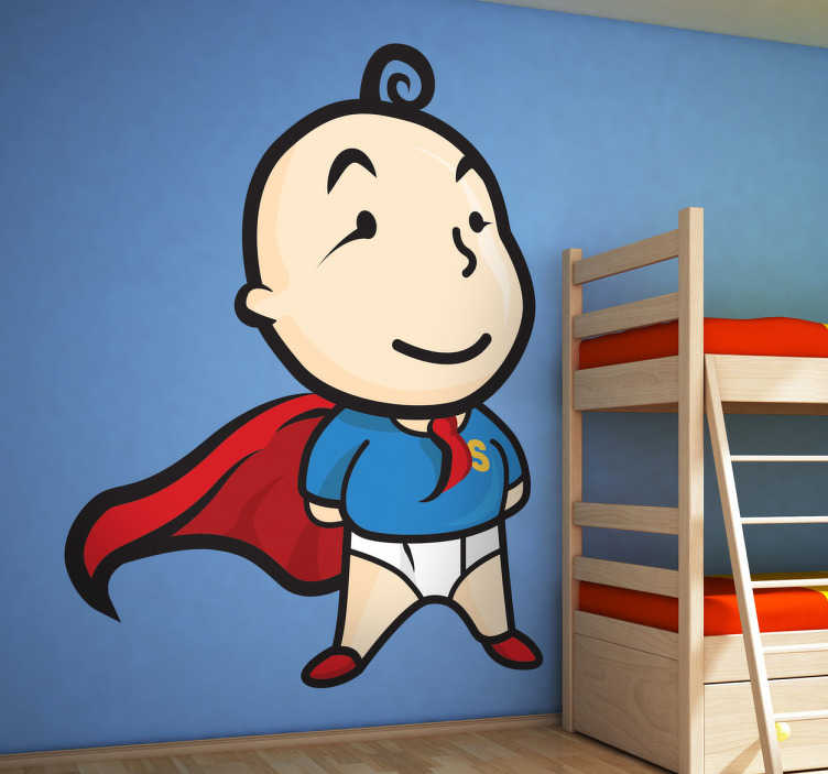 TenStickers. Super Toddler Kids Sticker. Toddlers wall stickers - An original design from Tenstickers that features a superhero toddler. A great illustration for your kid´s bedroom that they will love.