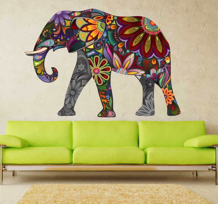 Tenstickers. Färgglada elefantmuren klistermärke. Den här levande elefantmuren är perfekt för ditt vardagsrum eller sovrum. Högkvalitativt vinyllim har en färgstark och exotisk design.