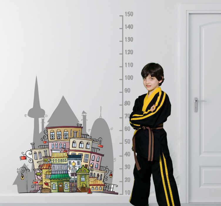 TenStickers. Naklejka miarka miasto. Naklejka na ścianę z rysunkiem miasta przeznaczona do pomiaru wzrostu. Świetne rozwiązanie na dekorację i miarkę w jednym.