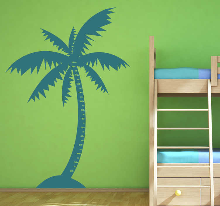 TenStickers. Kinderen palmboom meet sticker. Kinderkamer muursticker van een palmboom! Je ziet niet alleen 2 palmbomen maar ook een meetlint erin verwerkt waarbij je je kinderen kunt opmeten!