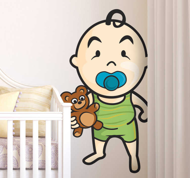 TenStickers. Coloured Toddler & Teddy Wall Sticker. Kids Wall Stickers- Original illustration of a baby toddler with their teddy. Playful and adorable feature for decorating children's bedrooms.