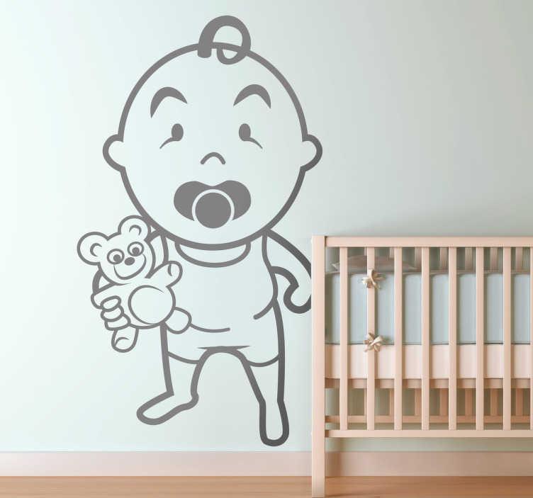 TenStickers. Sticker bébé peluche. Décorez la chambre de bébé ave cet original sticker d'un bébé avec sa tétine et son ours en peluche prêt à aller dormir.