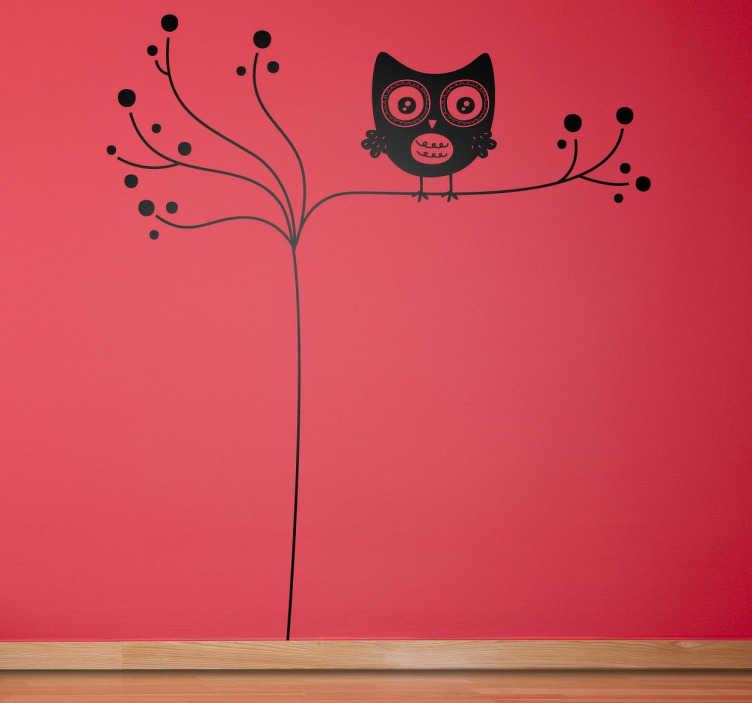 TenStickers. Sticker enfant hibou sur branche. Stickers décoratif pour enfant illustrant un hibou sur sa branche d'arbre.Super idée déco pour la chambre d'enfant et tout autre espace de jeux.