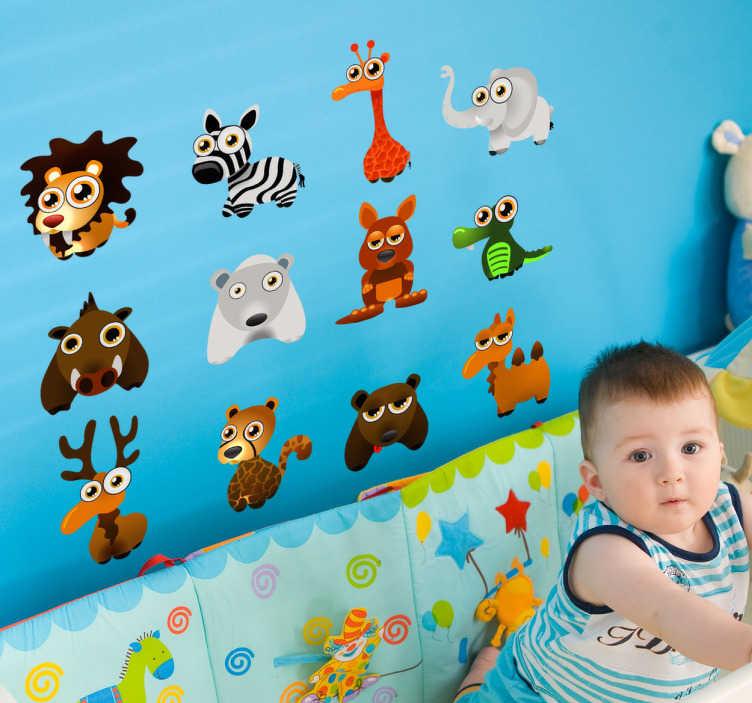 TenStickers. 动物收集孩子贴纸. 儿童贴纸-有趣的野生动物的集合,非常适合儿童房。丰富多彩的设计。