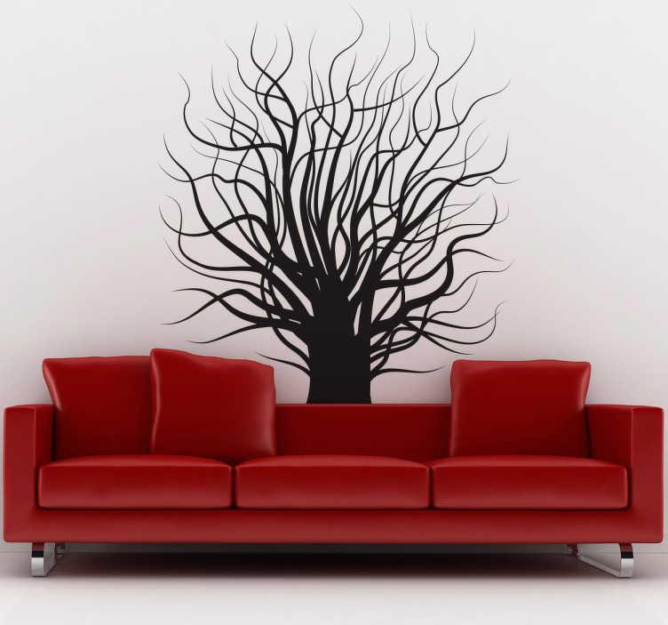 TenStickers. Autocolante decorativo árvore nua. Autocolante decorativo com uma árvore sem folhas. Aconselhável para a decoração do quarto e para a decoração da sala.