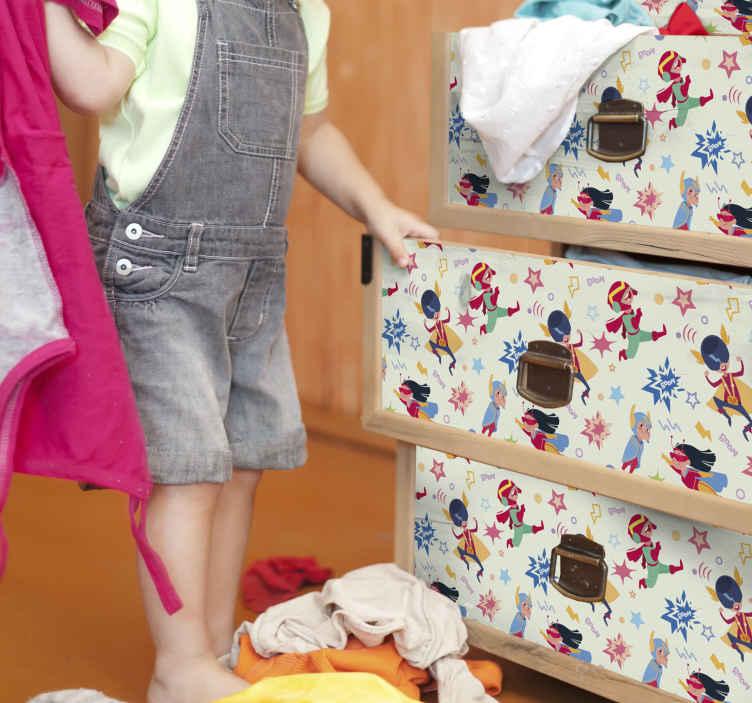 TENSTICKERS. ヒーローは家具のデカールをパターン化します. 素敵な子供たちのヒーローのイラスト家具デカール-デザインは子供のための家具スペースを包むために使用でき、引き出しや食器棚などのために素敵です。