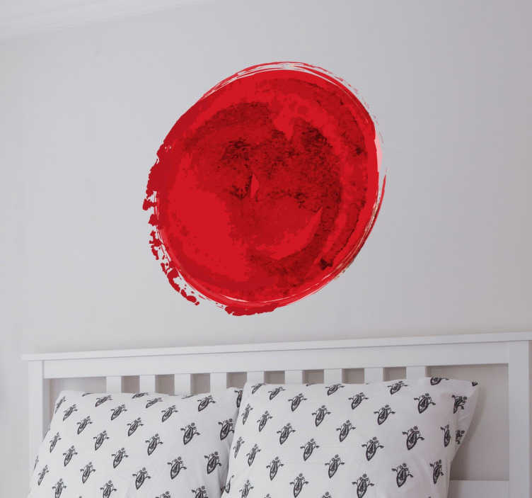 TenStickers. αυτοκόλλητο τοίχου με ιαπωνική σημαία. χτυπήστε το nisshōki στο σπίτι σας με πρωτότυπο τρόπο με αυτήν την εικόνα του κόκκινου κύκλου της ιαπωνικής σημαίας. ο κόκκινος κύκλος στο hi no maru μοιάζει με τον ανατέλλοντα ήλιο.