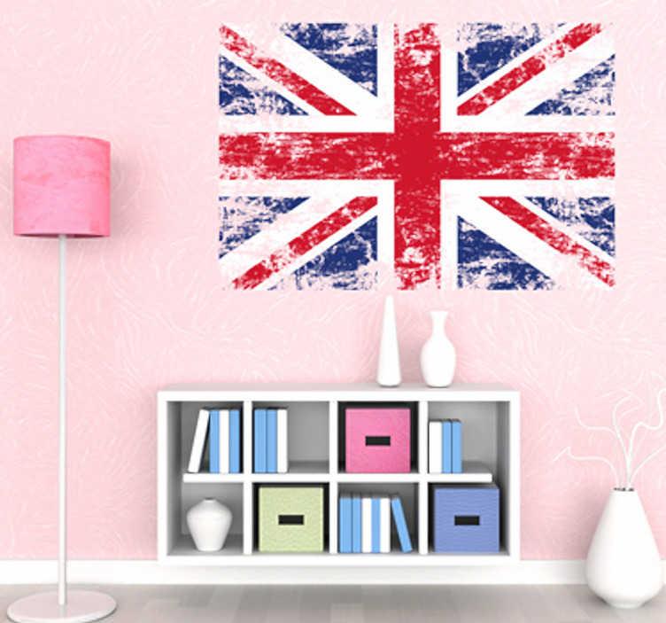 TenStickers. Sticker decorativo bandiera Regno Unito. Adesivo murale raffigurante la famosa Union Jack in una versione moderna ed accattivante.