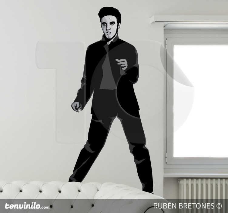 TenStickers. Sticker decorativo illustrazione Elvis. Adesivo murale che raffigura il Re del Rock, nulla di più, nulla di meno. Un disegno originale di Rhuven.