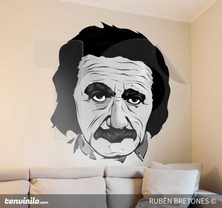 TenStickers. Sticker decorativo ritratto Einstein. Adesivo murale che raffigura il volto di uno degli scienziati più famosi del '900, noto per la celebre Teoria della Relatività. Un disegno originale di Rhuven.