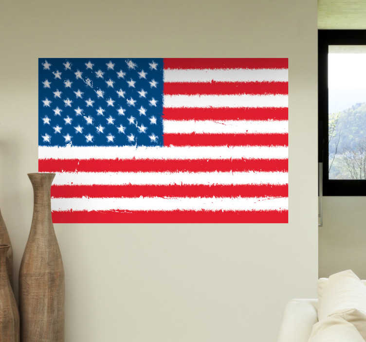 TenStickers. USA Flag Wall Sticker. Wall Stickers - Wall mural of the flag of the United States. The land of the free and the home of the brave.