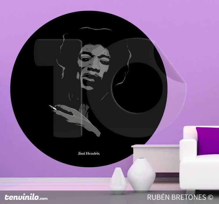 TenStickers. Sticker decorativo illustrazione Hendrix. Adesivo murale che raffigura il leggendario Jimi Hendrix, uno dei migliori chitarristi di tutti i tempi. Un disegno originale di Rhuven.