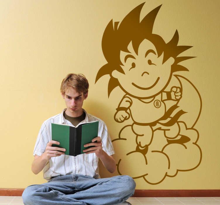 TenVinilo. Vinilo infantil tenviniño Goku línea. Adhesivo de corte del chaval de tenvinilo caracterizado del protagonista de Dragon Ball.