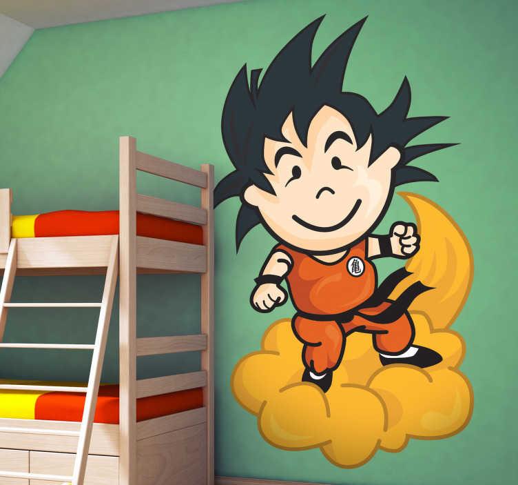 TenVinilo. Vinilo infantil tenviniño Goku. Pegatina del personaje icónico de nuestra empresa disfrazado del prota de Bola de Dragón.